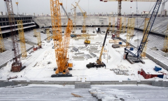At the construction site of the «Otkritie Arena» stadium. March 2013.